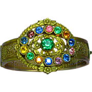 SALE Victorian Revival Brass Gemstone Color Glass Kaleidoscope Rhinestones Bangle Bracelet