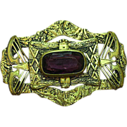 Brass Enchanting , Buckle, Sash Pin, Brooch With Large Amethyst  Stone