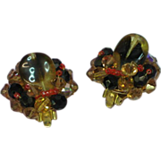 Tiger Stripe Art Glass Crystal Clip Earrings
