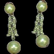 Pearl Vintage Silver Tone Rhinestone Faux Pearl Dangle Earrings