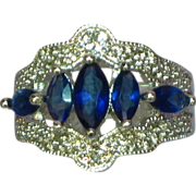 Sapphires set in Rhodium Plate Silver Cocktail Dinner Ring