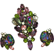 D&E Rare Purple Pink Watermelon Rhinestone Pin, Brooch,and Earrings Set, Demi Parure