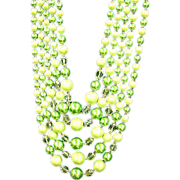 "Japan  Beaded Lime Green 5 Strand 20"" Necklace"