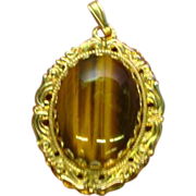 SALE 50% OFF Tigers Eye Large Opulent Pendant with Gold tone Setting