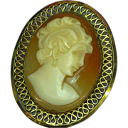 Cameo Carved Shell In Filigree Gold Filled Frame c 1900's Pin Brooch Pendant