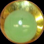 14K Yellow Gold Jade Mens Tie Tac Hat Pin