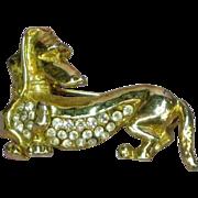 Rhinestones and Gold-Tone Dachshund Doggy Dog Pin