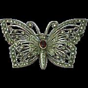 SOLD Beautiful Hand Set Genuine Garnet Marcasite Sterling Silver Butterfly Pin Brooch