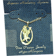 SALE 50% OFF SALE Pewter NOS Diamond Cut Eagle Pendant Necklace