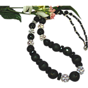 Crystal Audrey Hepburn Stunning Black Glass Black Clear Crystal Necklace