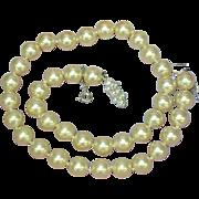 "Majorica Majorca Simulated Pearl Hand Knotted Single Princess Strand 17"" Necklace"