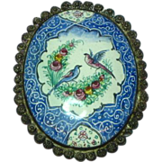 SALE Enamel Persian Signed Qajar Flowers Birds Handpainted Sterling Silver Brooch Pin