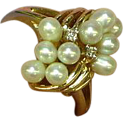 Akoya Cultured Pearl and Diamonds Magnificent Fine Ring, 14K Yellow Gold,