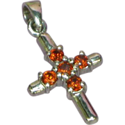 Crystals Petite Red,Orange Cross Sterling Silver Pendant
