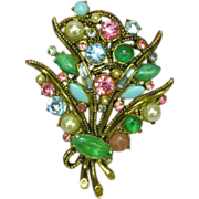 Weiss Marked Estate Rhinestones and Art Glass Goldtone Pin Brooch