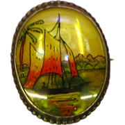 Hand Painted Brooch Mother of Pearl Sterling Silver Pin