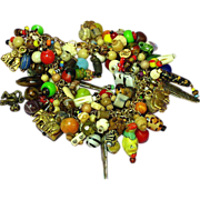 SALE OUT of AFRICA Trade Beads and Vintage Jewelry Pieces, Jungle Charm Bracelet