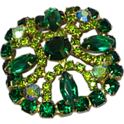 Rhinestones Green Vitrail Layered Brooch Pin