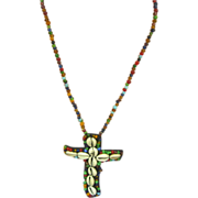 "SALE Art Glass African Hand Made Trade Beads Long 28"" Glass Shell Cross Necklace"