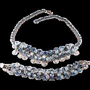 SALE Juliana D&E Vibrant Blue Dangle Silver Rhodium Plate  Necklace and Bracelet Demi Parure