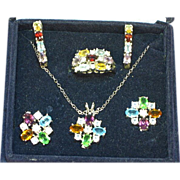 Gemstones NOS Boxed Set of Necklace and Earrings and a Ring and Earrings Sterling Silver ...