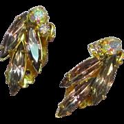 Juliana,D&E Purple and A/B Rhinestone Estate Clip Earrings