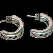 Sterling Silver Cut Out Half Hoop Pierced Earrings