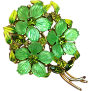 Art Glass Molded Sherbert Green Iridescent Colored Glass Enamel Brooch