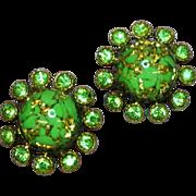 Rhinestones Green Foiled Art Glass Clip Earrings