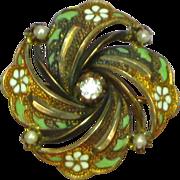 14K Victorian Enamel Mine Cut Diamond Pin Brooch Pendant
