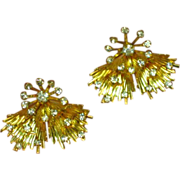 Emmons Signed Rhinestones and Gold Tone Elegant Vintage Clip Earrings