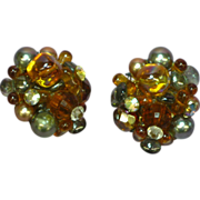 Rhinestones Crystal Black Pearl and Topaz Hand Crafted Clip Earrings
