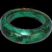 SALE 50% OFF SALE  Hand Painted Turquoise and Black Vintage Wood Bangle Bracelet
