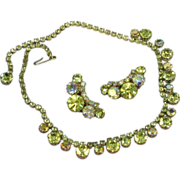 Weiss Exquisite HTF Yellow and Vitrail Necklace and Earrings Demi Parure