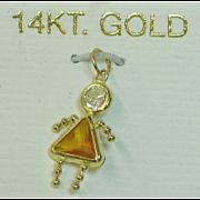14K Yellow Gold Birthstone Girl Charm November Topaz