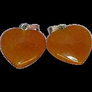 Carnelian Agate Set Of Two Polished Genuine Stone  Heart Shaped Charms Pendants