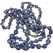 REDUCED Murano Italy Double Strand Art Glass Beads Hand Knotted Luxurious Necklace