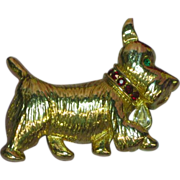 Napier Scotty Dog Scottish Terrier Pin  Rhinestones Brooch