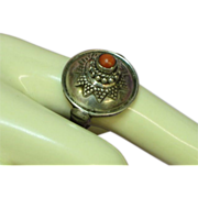 Coral Red Vintage Sterling Silver Hand Made Gorgeous Ring