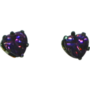 Heart Purple Crystal Sterling Silver Pierced Earrings