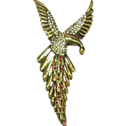 Fire Bird Awesome! 1940's Phoenix Rising Estate Brooch