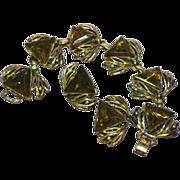 Huge Chunky Triangle Dark Topaz Stones Bracelet and Earrings Set Demi Parure