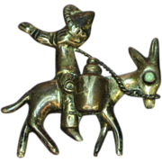 Mexican Mexico Sterling Silver Vintage Pin Mexican Man,Donkey & Sombrero