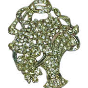 Rhinestones Basket of Flowers Art Deco Brooch,Pin Heavy Rhodium Plate