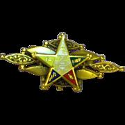 Eastern Star Enamel Fraternal 10K Gold Brooch Pin