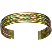 Gold Filled and Sterling Silver Wide Cuff Bracelet