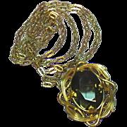 "Winard Gold Filled Smoky Quartz Brooch Pendant 1/20 12 K GF with 30"" Chain ..."