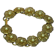 SALE Pearls Simulated Gold Tone Mesh Floral Bracelet