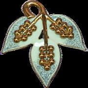 Copper Beautiful, Genuine Enameled Leaf Pin Brooch.