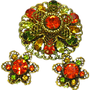 Rhinestones Green Orange Yellow Fall Brooch Pin Earrings Demi Parure